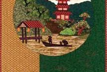 Japanese Themed Quilts / Japanese Art, Japanese Landscapes, Chinese Art, Blue Willow,  Ando Hiroshige, Asia, Asian Art, Quilts, Quilted, Pandas, Take Out Boxes, Sewing Projects