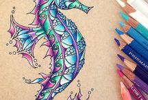 Färgpenna i vatten