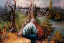 Oleg Shuplyak / Optische illusie's van gezichten in schilderijen