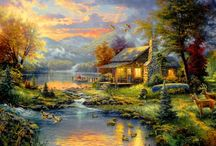 Thomas Kinkade / Frankly, I don't have a clue when it comes to whether art is quality or not, but I do know I have loved the works of Thomas Kinkade for many years...  God bless his soul, and may he take his talent to an entirely new level in his next life! / by Phil Scheen