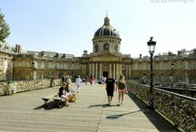 Pont des Arts - Bridge of Love / The Pont des Arts bridge, which is also well known as the Bridge of Love. Having become famous worldwide for thousands of people to share their love together by placing a pad lock - or also known as a love lock - onto the edge of the bridge.