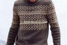 жакардом свитер