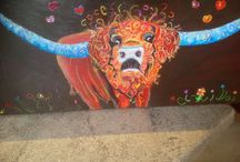 Loom Band Cow Art / Art on canvas textured with old recycled loom bands