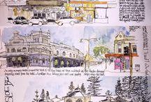 sketching, ink &wash