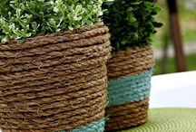 Rope wrapped baskets
