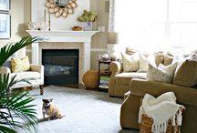 Corner fireplace arrangement