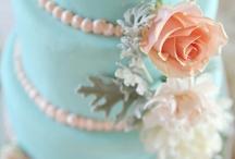 Peach & Blue Wedding Cake Ideas