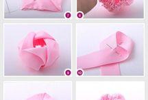 Satin ribbon flowers