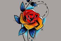 Flores distintas acuarela/geometricas color