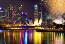 Fireworks and cityscapes