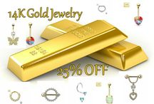 14 Karat Gold Body Jewelry / 14 K Gold Belly Rings, Nose Rings, Septum, Nipple Barbells,  Cartilage and Tragus