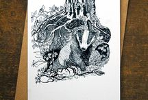 British Wildlife Pen & Ink Cards / These delightful cards by Gail Dixon feature pen & ink illustrations of various native wildlife native to the British Isles  Each card is blank inside for your own message and comes cello-wrapped with a recycled envelope.