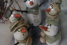 Bonhomme de neige en poterie