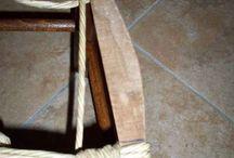 chaise rempaillée en tissu
