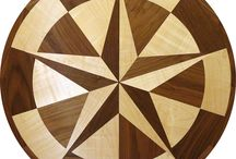 City State and Country Wood Floor Medallions / #WoodFloorMedallion with a location symbol on them