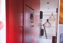 Integrated red kitchen wall