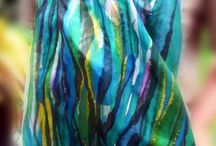 Silk Painting / My hand painted silk scarves, made to order $80