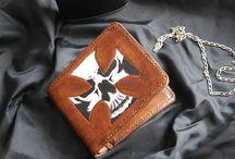 Biker leather bifold wallet