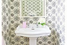 Powder Rooms / With the holidays coming up, your powder rooms will be used more frequently by visiting family and friends!  If you need help selecting wallpaper and fixtures that will make your powder room pop, contact me at rosa@rosadestinteriors.com