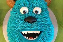 Monsters Inc./University Cake Ideas / Cake, cupcakes, cake pops, cookies, Sulley. Mikey, Randell, Boo, Pixar