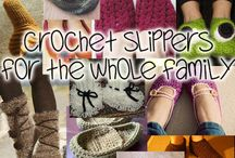 Crochet slippers, boots, socks, legwarmers