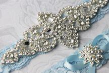 blue garter wedding