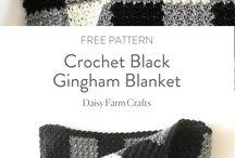 gehaakte blok deken zwart grijs