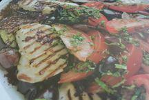 Griddled haloumi and aubergine salad