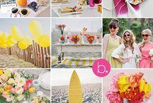 bright beach wedding shoot