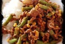 indischegehaktschotel met sperciebonen en rijst