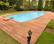 novathermowood Iroko Decking / CLASSY, ELEGANT  The exotic iroko provides an ideal exterior decking material with its durability, light amber colour and an elegant look that captures perfection with its modern aspect. Iroko is also a good alternative to teak, another reason to why you should choose novathermowood Iroko Decking.