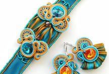 Soutache and Shibory  silk jewelery