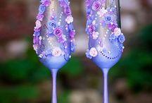 paars en blauw glas