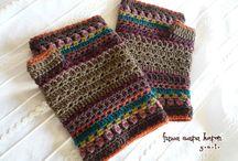 crochet beanies + mittens+slippers