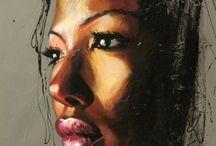 portrét suchý pastel
