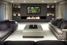 living room with gas fireplace modern