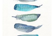 aquarelle feathers and birds
