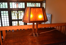 Arts and Crafts Oak And Mica Lamp