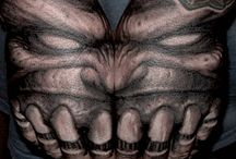 Hand Tattoos by Paul Booth