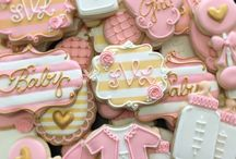 """Baby Shower #1- Family / """"Romantic"""" color scheme: Rose, mauve, light pink, creme, white, and gold."""