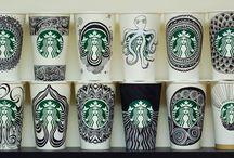 Starbucks Cup Doodles / All doodles hand drawn by me. Copyright Bernadette Moke & Downtown Doodler.