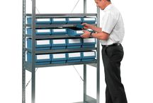 Boltless shelving complete with bins.