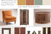 Living Room Morrocan / Asian and rustic influences create this Design Consultation we call Gangnam Style:) in honor of Psy.  Textured side tables rich wood finishes and deep reds of asia abound.