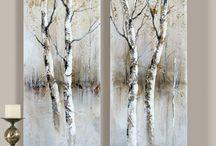 yağlıboya ağaçlar