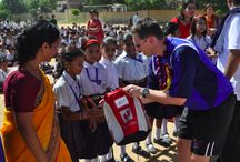India - British Colleges Sport. / October 2011 - 48 SchoolBags handed out to children of the No. 6 school in Jaipur. The SchoolBags were distributed by members of the British Colleges Sport who took them in their hand luggage.