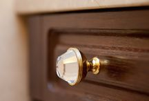 Furniture hardware / A selection of classical furniture and cabinet knobs made with brass and exclusive Swarovski crystal