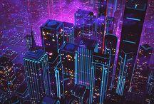 Cyberware / Cyberpunk, Synthwave/Retrowave, Vaporwave, Retrofuturism.