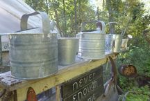 Rustic Watering Cans / Watering cans are one of the things that people seem to want to collect; they can be bonsai watering cans with a long spout, galvanized, vintage, plastic or copper... / by Drought Smart Plants