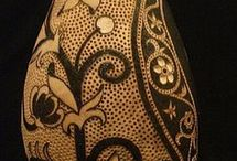 Pyrography on Gourds / Pyrography (woodburning) on gourds
