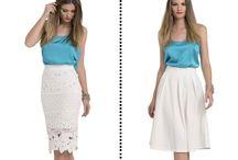 Como usar saia midi! / Aprenda diversas maneiras de combinar a sua saia midi JUSTA ou EVASÊ ♥